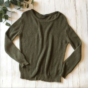 Brandy Melville Olive Green Knit Pullover Sweater